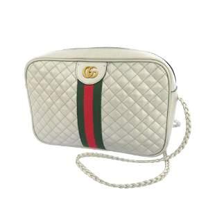 Authentic Gucci Web Trapuntata Leather Crossbody Bag