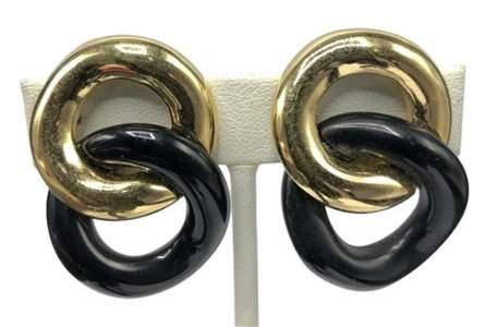 Authentic Vintage Givenchy Black & Gold Interlocking