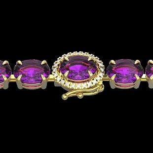 29 ctw Amethyst & VS/SI Diamond Micro Pave Bracelet 14k