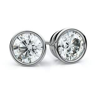 18k White Gold Bezel Round Diamond Stud Earrings 1ctw