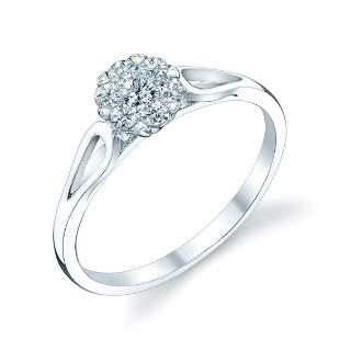 14k White Gold Cluster Diamond Ring 0.24ctw