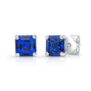 4 Prong Asscher Cut Sapphire Earrings In 14k White Gold