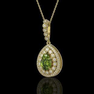 4.97 ctw Tourmaline & Diamond Victorian Necklace 14K
