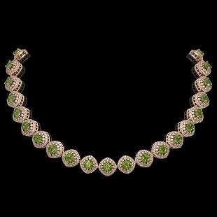 72.27 ctw Tourmaline & Diamond Victorian Necklace 14K