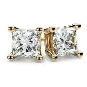 14k Yellow Gold 4-prong Princess Diamond Stud Earrings