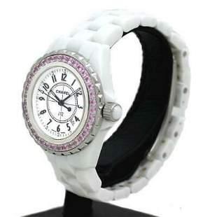 Authentic Chanel J 12 Pink Sapphire Bezel H1181 Ceramic