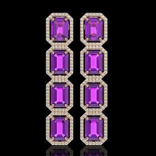 18.59 ctw Amethyst & Diamond Micro Pave Halo Earrings