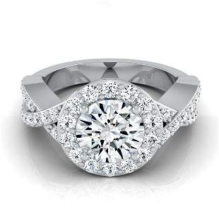 1 1/2ctw Round Diamond Halo Engagement Ring With