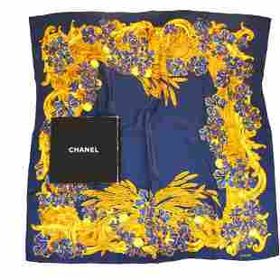 Authentic CHANEL CC Logo XL JUMBO Scarf Handkerchief
