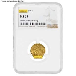 $2.5 Gold Quarter Eagle Indian Head NGC MS 63 (Random