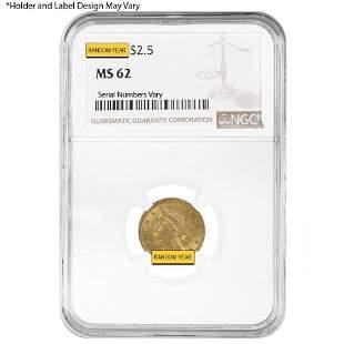$2.5 Gold Quarter Eagle Liberty Head NGC MS 62 (Random