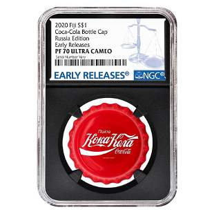 2020 6 gram Fiji Coca-Cola Russia Bottle Cap $1 Proof