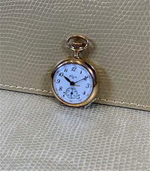 Authentic Elgin Lady Small Second Pocket Watch - 14kt