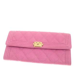 Authentic Chanel Boy Caviar Leather Wallet