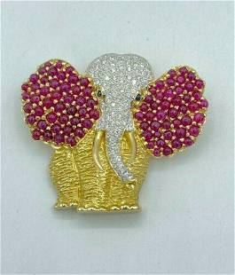 Authentic Estate 18k Solid Yellow Gold Elephant Brooch