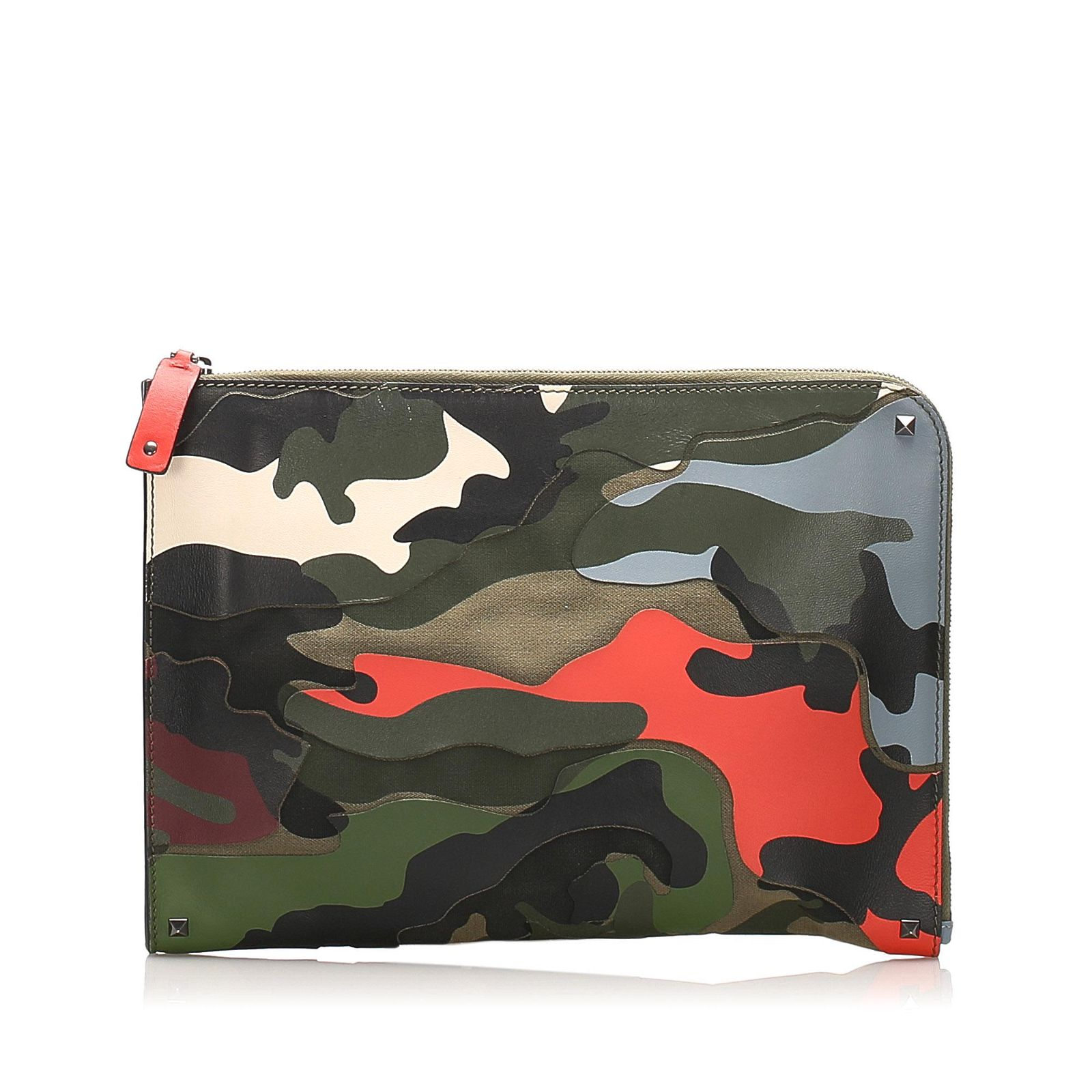 Authentic Valentino Camouflage Leather Clutch Bag