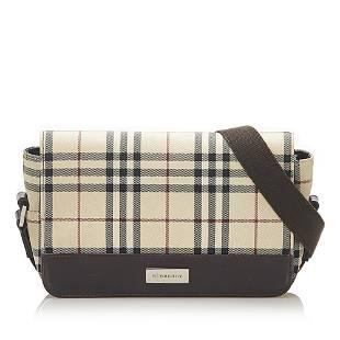 Authentic Burberry House Check Canvas Crossbody Bag