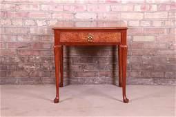 Baker Furniture Queen Anne Walnut and Burl Wood Tea