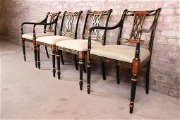 Councill Regency Ebonized Hand-Painted Dining Chairs