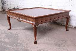 Baker Furniture Queen Anne Walnut and Burl Wood Large
