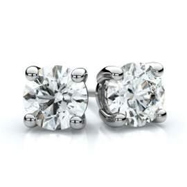 Platinum 4-prong Round Diamond Stud Earrings 1.40ctw