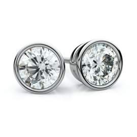 18k White Gold Bezel Round Diamond Stud Earrings