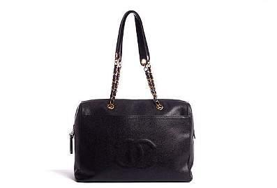 Authentic Chanel 90s Supermodel Black Zipped Tote