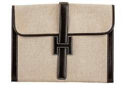 Authentic Hermes Jige Brown Toile Clutch