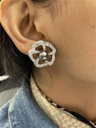 Estate Platinum Diamond Tahitian Pearl Earrings