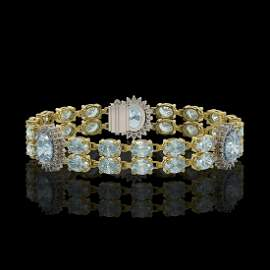 15.72 ctw Aquamarine & Diamond Bracelet 14K Yellow Gold