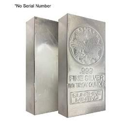 100 oz Sunshine Mint Vintage Silver Bar .999 Fine