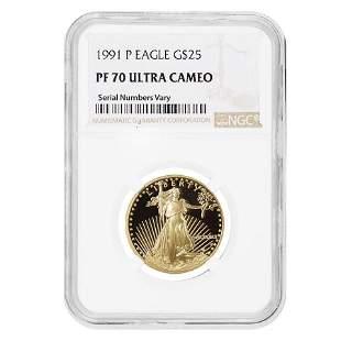1991 P 1/2 oz $25 Proof Gold American Eagle NGC PF 70