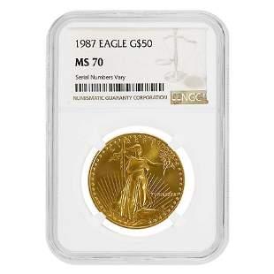 1987 1 oz $50 Gold American Eagle NGC MS 70