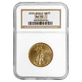 2000 1/2 oz $25 Gold American Eagle NGC MS 70