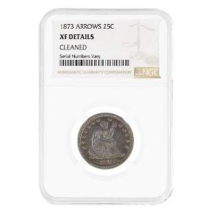 1873 Seated Liberty Silver Quarter Dollar 25C Arrows