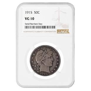 1915 Barber Half Dollar 50C 90% Silver NGC VG 10