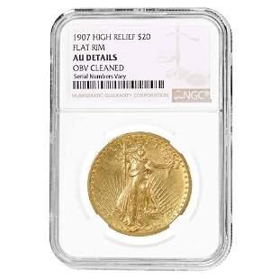 1907 $20 Gold Saint Gaudens Double Eagle High Relief