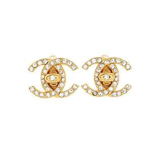 Authentic CHANEL Coco Logos Turn Lock Earrings Gold 96A