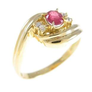 Authentic K18Yellow Gold Ruby Ring