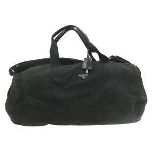 Authentic PRADA Nylon 2Way Boston Bag Black