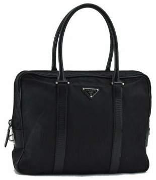 Authentic PRADA Nylon Leather Brief Case Black
