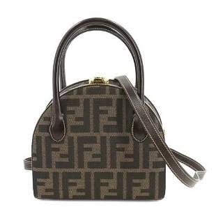 Authentic FENDI Zucca Round Vanity Hand Shoulder Bag