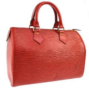 Authentic LOUIS VUITTON SPEEDY 25 HAND BAG RED EPI