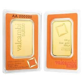 100 gram Gold Bar Valcambi Suisse .9999 Fine (In Assay)