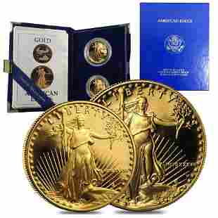 1987 W/P 1.5 oz Proof Gold American Eagle 2-coin set