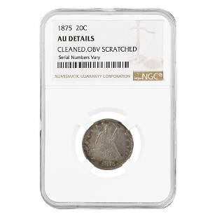 1875 Seated Liberty Silver Twenty Cents 20C NGC AU