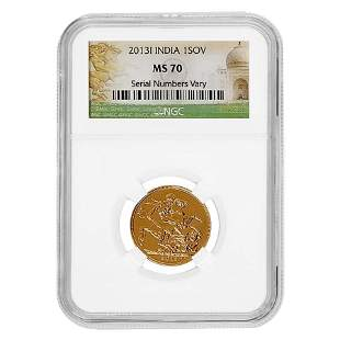 2013-I India Gold Sovereign NGC MS 70