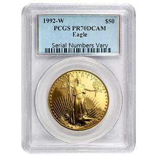 1992 W 1 oz $50 Proof Gold American Eagle PCGS PF 70
