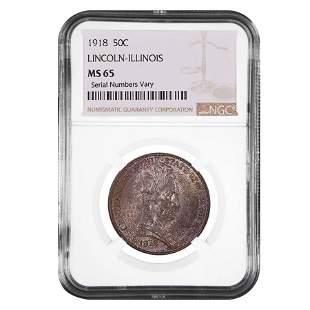 1918 Lincoln-Illinois Half Dollar 90% Silver Commem NGC