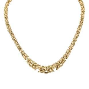 14k Yellow Gold Graduated Textured Byzantine Chain